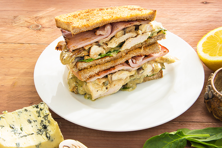 Chicken bacon blue cheese mushroom toasted sandwich