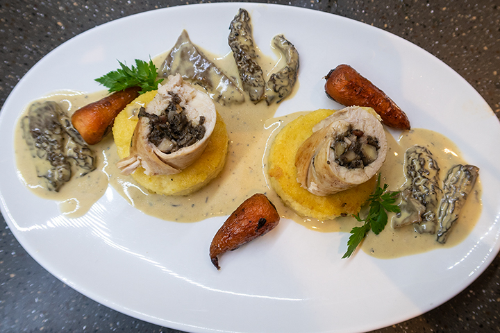 Chicken ballotine with morels