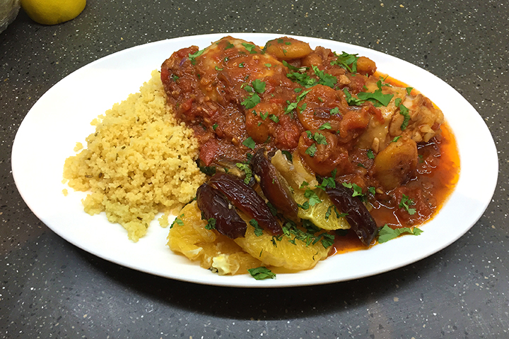 Chicken tagine with orange salad and fennel couscous