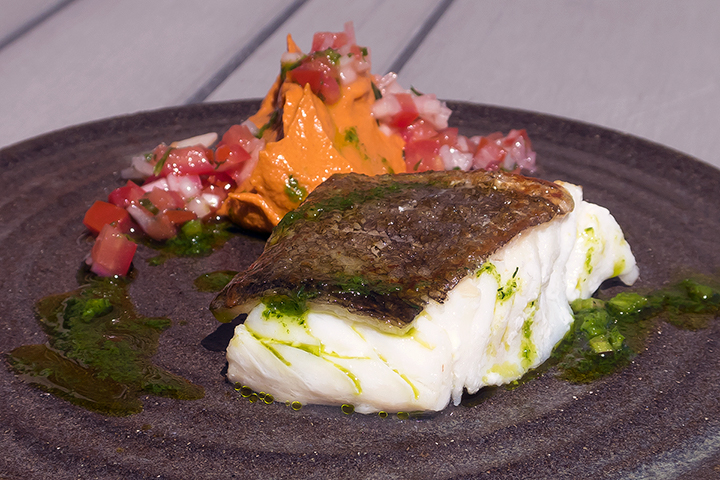 Cod with romesco and tomato salsa