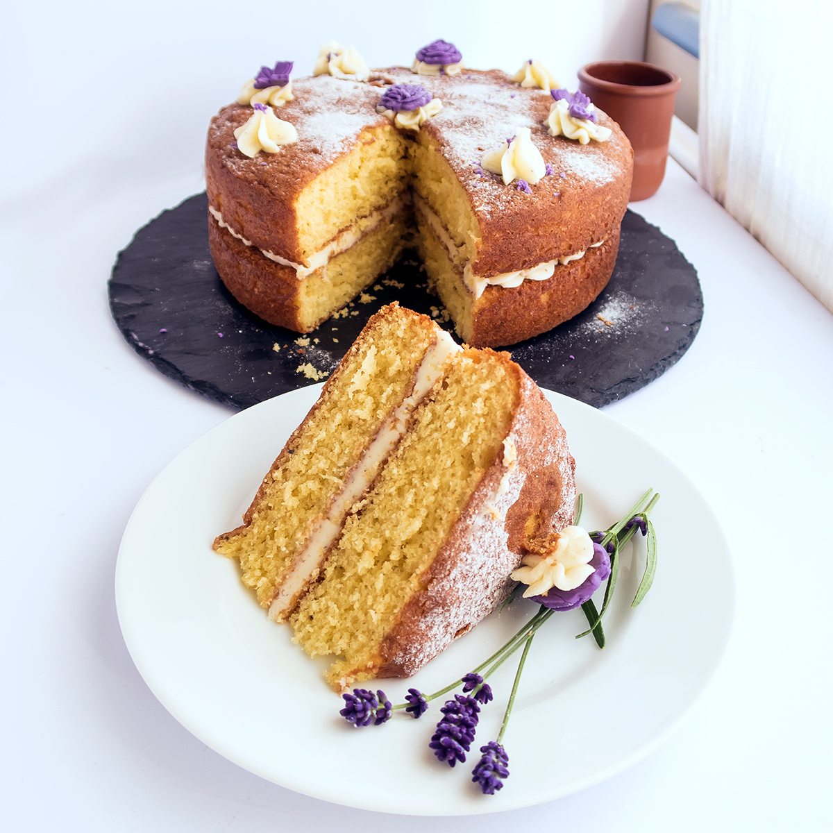 Slice of lavender and elderflower cake