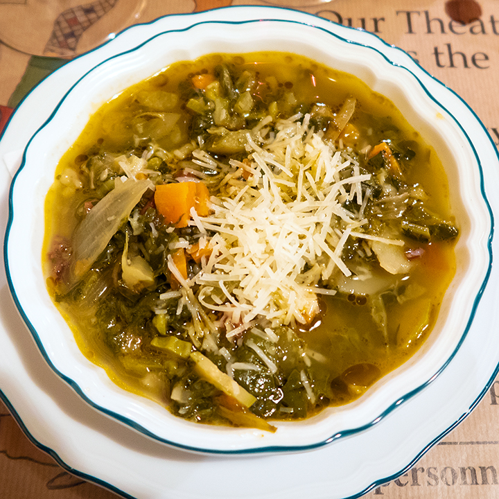 Minestrone soup with red rice