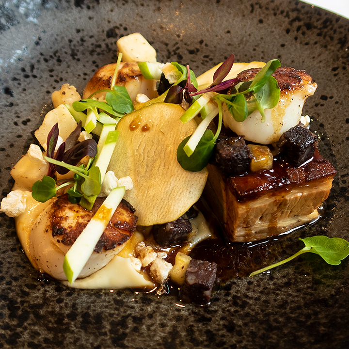 Scallops and pork belly