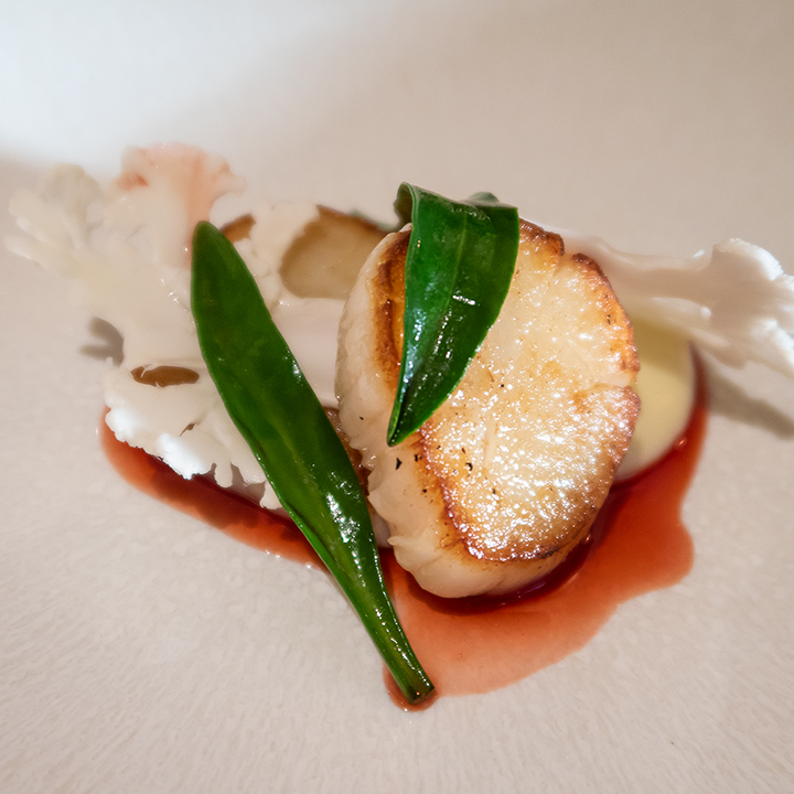 Scallops with strawberry and verjus
