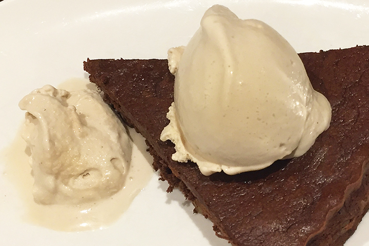 Tonka bean ice cream with chocolate tart