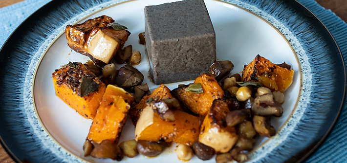 Vegan mushroom mousse with squash, chestnuts and sage
